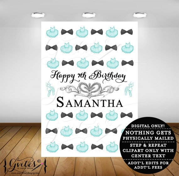 Step and repeat backdrop banner sign, happy birthday, blue themed and co, tutus and bowties backdrop photo booth poster digital, 5ft x 7ft