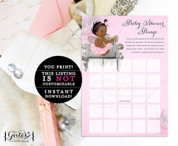 Baby shower princes bingo, card vintage baby silver and pink, ethnic baby girl ruffles bows. INSTANT Download {Dark/Jet} 5x7/2 per sheet