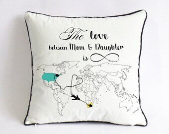 long distance mother daughter cushion cover-daughter birthday gift-mothers day gift for daughter-mom Xmas gift-mom daughter love is forever