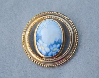 Porcelain Forget Me Not Flowers Brooch Vintage