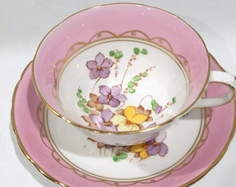 Hand Painted  Pink Tuscan Tea Cup and Saucer, Vintage Tea Cups, Antique Tea Cups, Pink Tea Cups, Bone China Cups, Hand Painted Cups