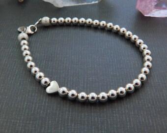 Sterling Silver Beads & Heart Bracelet.