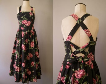vintage 1980s dress / 80s floral backles sundress / small / Beach Rose Dress