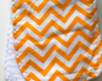 Burp Cloth - Orange and White Chevron - Flannel and Terry Cloth - Thick and Absorbant - Neutral