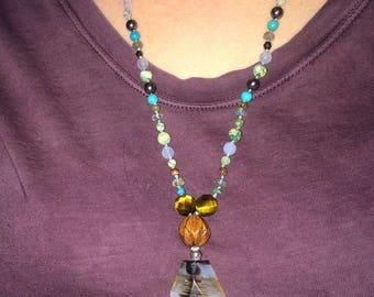 Beaded quartz pendant w/ mixed stone beaded chain