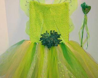 CLEARANCE!! LINED Pretty Spring Green Fairy Costume fits sizes 7-14 with fairy wings, halo and magic wand!