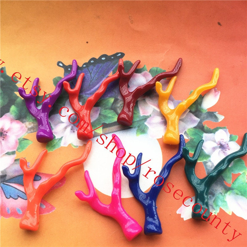 Wholsale 20pcs 55x25mm Assorted8 Colors Resin Antler Charms