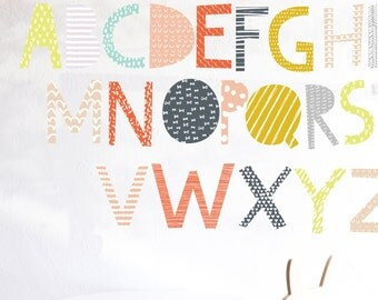 Wall decal - Patterned Alphabet- Uppercase and lowercase - alphabet wall decal - alphabet wall art