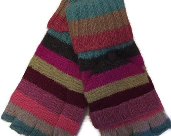 Fingerless Gloves, Ladies Pink Yellow Teal Striped Winter Mittens, Mitts, Texting Gloves
