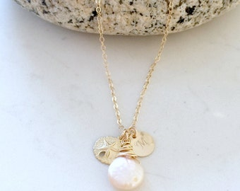 personalized pearl necklace initial necklace sand dollar freshwater pearl monogram necklace monogram jewelry bridesmaid gifts beach wedding