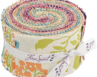 Flora Jelly Roll Fabric Design Roll From Free Spirit  100% Cotton