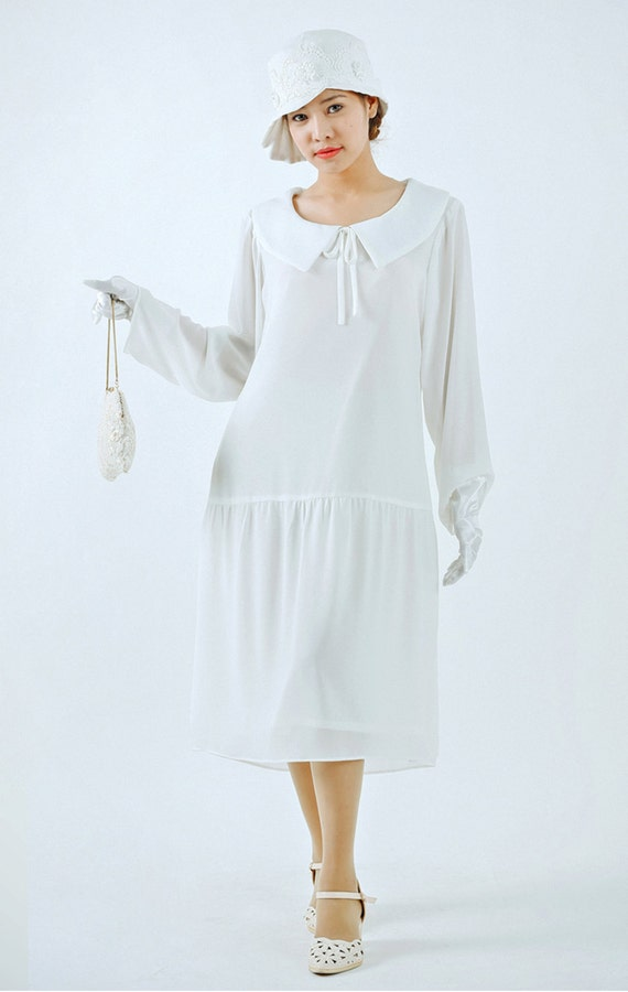 1920s Day Dresses, Tea Dresses, Garden Party Dresses Ivory Great Gatsby dress with puritan collar and long sleeves 1920s flapper dress 1920s wedding white Gatsby dress Downton Abbey dress $130.00 AT vintagedancer.com