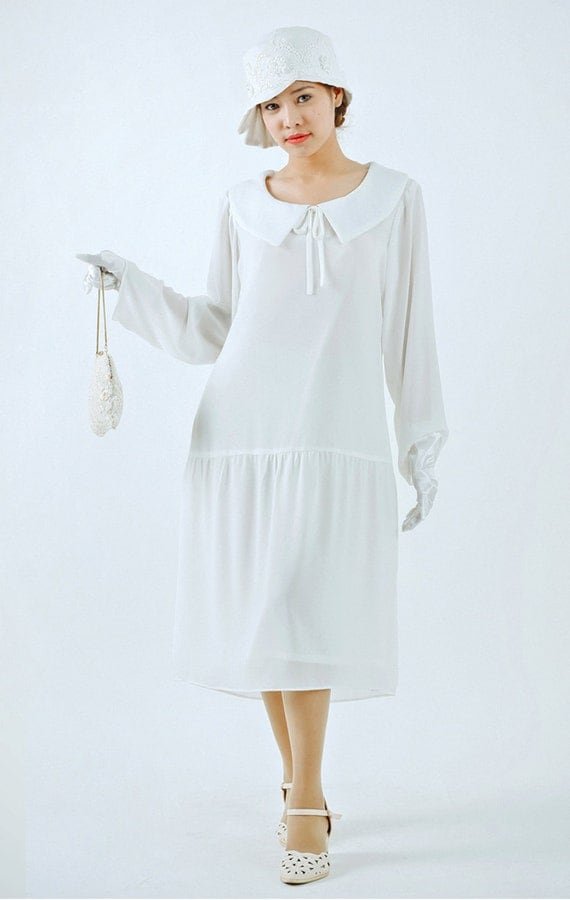 New 1920s Day Dresses & Tea Dresses Ivory Great Gatsby dress with puritan collar and long sleeves 1920s flapper dress 1920s wedding white Gatsby dress Downton Abbey dress $130.00 AT vintagedancer.com