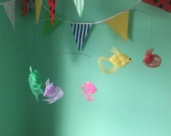 Colourful retro Japanese origami ribbon fish mobile