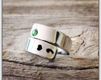 Heart colon jewelry / Semicolon ring Awareness Jewelry / awareness handstamped