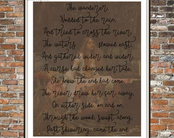 FOUND POEM, LADY of Shalott, Lord Alfred Tennyson, Blackout poem, wall art, words, poems, 8 x 10