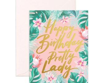 Pretty Lady Birthday Greeting Card