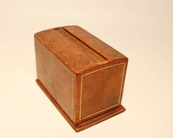 Antique Cigarette dispenser in wooden and leather