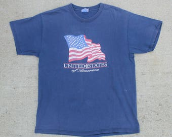 Vintage Faded Distressed U.S.A. United States Of America Tee T Shirt Size Large