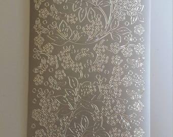 Starform silver flower spray stickers 123ss