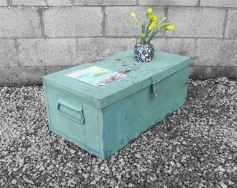 Green Industrial Chest Coffee Table Metal Trunk