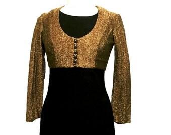Gold Lurex Blouse,70s Lurex Crop Top,Long Sleeved Vintage Blouse,Metallic Blouse,Retro Disco Fashion,Gold Blouse,Gold Top,Buttoned Bolero