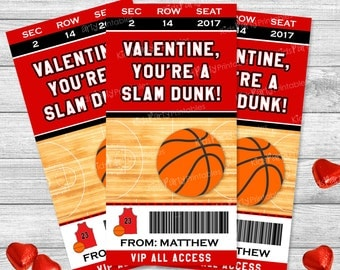 Basketball Valentines Day Card, Personalized Kids Valentines, Basketball Valentine Cards, Printable Sports Valentines, Classroom Class Boy