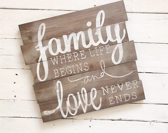 Family where life begins & love never ends wood pallet sign