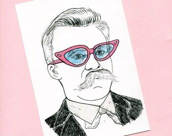 Nietzsche print- Philosophy art, illustration