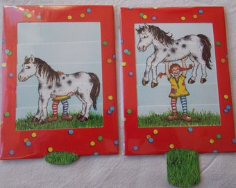 Pippi Longstockings card for children with horse you pull the tab under the card a 2nd picture appears 3Dcard with A6 envelope