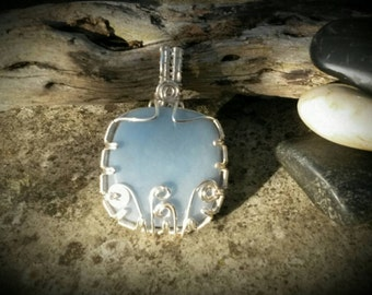 Angelic Angelite Pendant in silvered copper gift for her wirework couture designer jewellery Angel energy