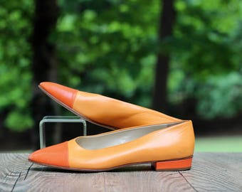 Vintage Bally Orange Spectator Pumps Size 38 / Orange Italian Shoes / Mod Boho Hippie Flats / Two-Tones Orange Pumps / Cantaloupe Pumps /