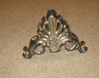 Vintage Ornate Metal Napkin Holder, Silver Metal Letter Holder, Desk Organizer
