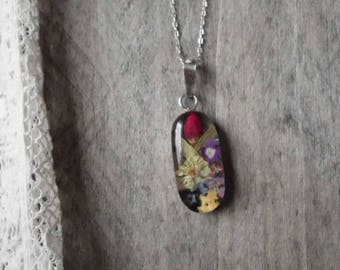 Sterling Silver Wildflower Resin Necklace