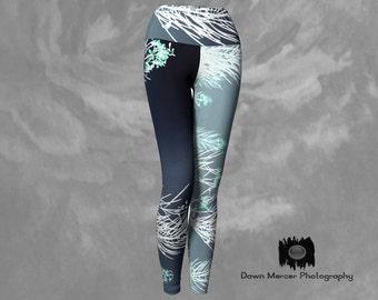Floral Leggings Unique Art Leggings Printed Leggings Yoga Leggings Tight Yoga Pants Blue Leggings Blue Printed Leggings Floral Blue Tights