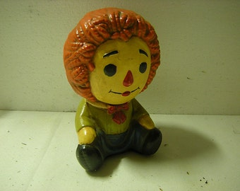vintage Raggedy Andy-plaster-shelf decor-nursery shelf-child bedroom-retro-