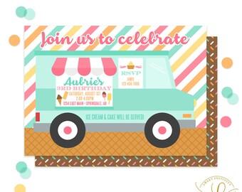 Ice Cream Truck Invitation | Ice Cream Invitation | Ice Cream Party | Ice Cream Social | Ice Cream Birthday Party | Printable Invitation