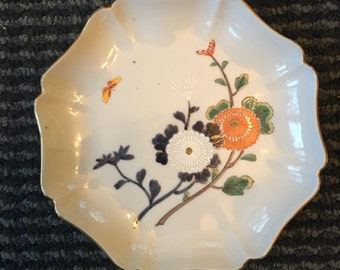 vintage floral dish with butterflies