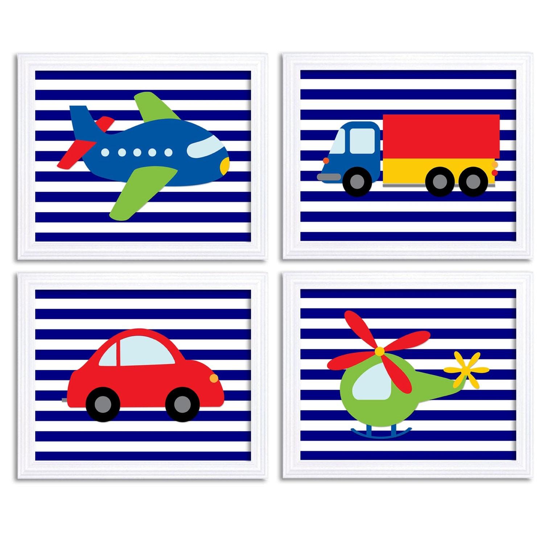 Transportation Nursery Art Set of 4 Print Red Navy Blue Stripes Green Yellow Child Kid Boy Room Wall