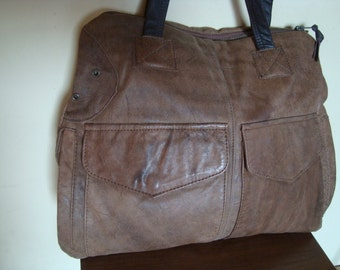 brown leather bag/// recycled leather bag