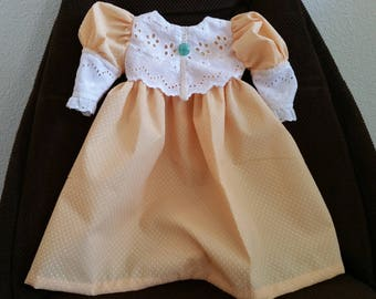 Handmade doll Dress Dotted Swiss Yellow and White Antique Style