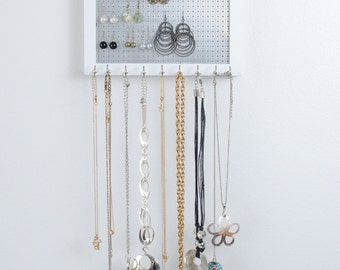 Hook Earring & Necklace Organizer - 8x10 White Frame -  Metal Screen - Jewelry Holder