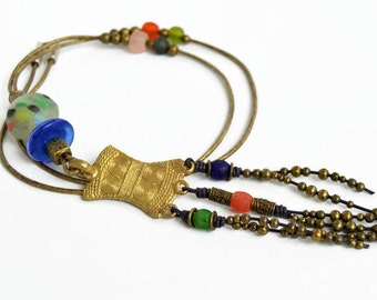 African long necklace, colorful ethnic pendant, tribal jewelry, vintage bronze rustic necklace, womens gifts, adinkra hippie necklace