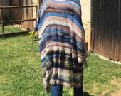 Long Poncho, Unique Handmade Boho Crochet Burning Man Festival Clothing Blue Beach Cover Up Long Wrap~~FREE SHIPPING~~