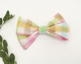 Sage Folded Hair Bow - Cotton Fabric bow with Nylon Headband or Hair clip
