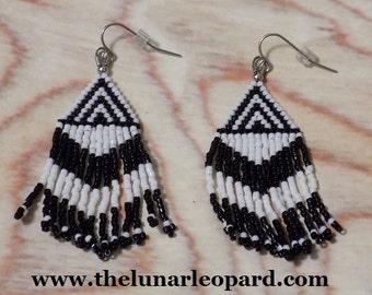 White Tiger - Zebra Stripe - Seed Bead Earrings on Stainless Steel