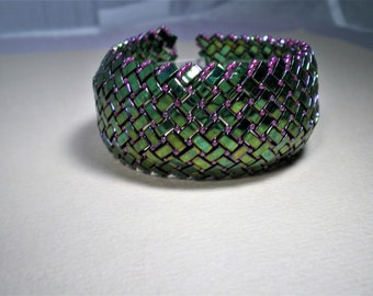 Green Metallic Rainbow Half Tila Bead Bracelet; Half Tila Beads, Half Tila Bracelet, Hand Beaded, Beadweaving