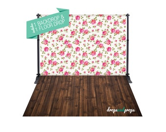 Madelin Floral & Walnut Wood Floor – Photography Backdrop Combo