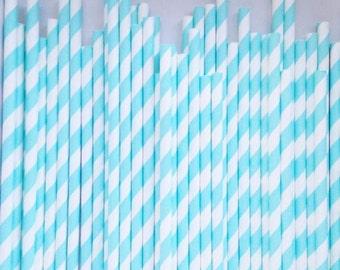 Light Blue Stripe Paper Straws | Drinking Straws | Paper Straws | Blue Paper Straws | Stripe Dot Paper Straws | Party Straws