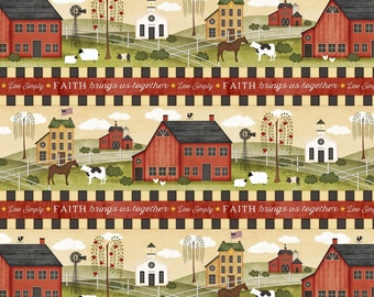 Farm Life Community, Border Stripe, The Way Home, Jennifer Pugh, Wilmington Prints (By YARD)~